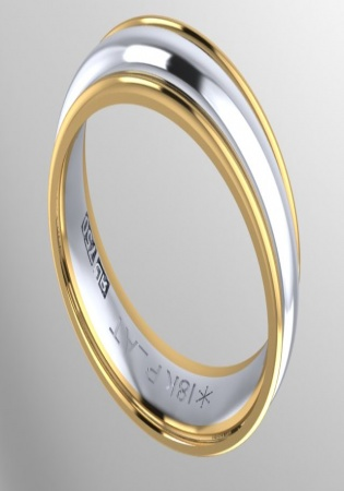 Ronaldo diamond 900 platinum and 18k gold two tone band ring 7mm
